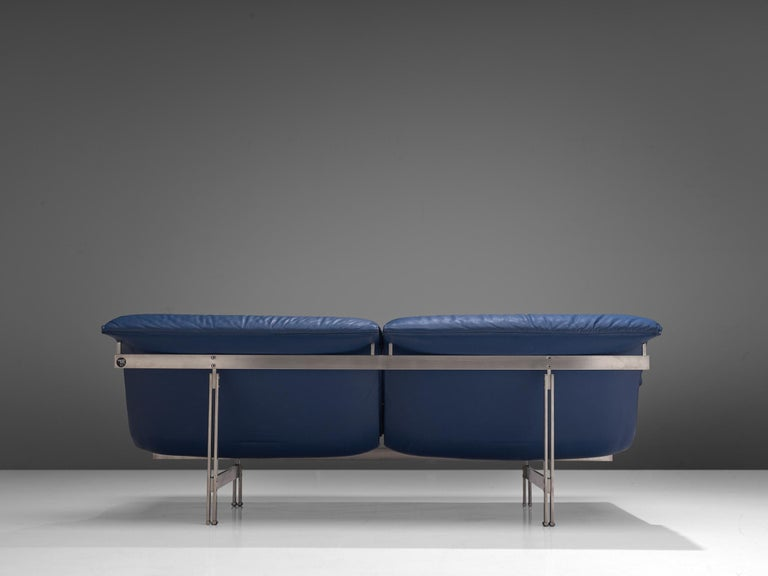 Late 20th Century Two 'Wave' Sofas in Sapphire Blue Leather by Giovanni Offredi For Sale