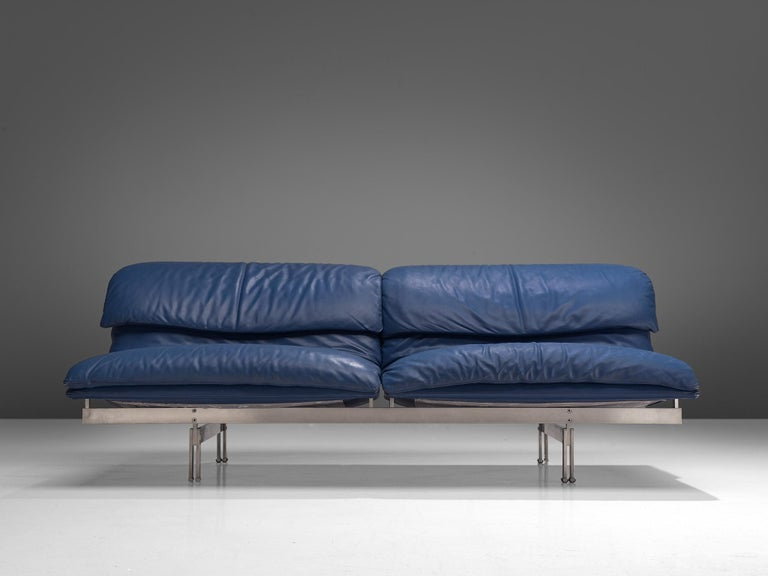 Steel Two 'Wave' Sofas in Sapphire Blue Leather by Giovanni Offredi For Sale