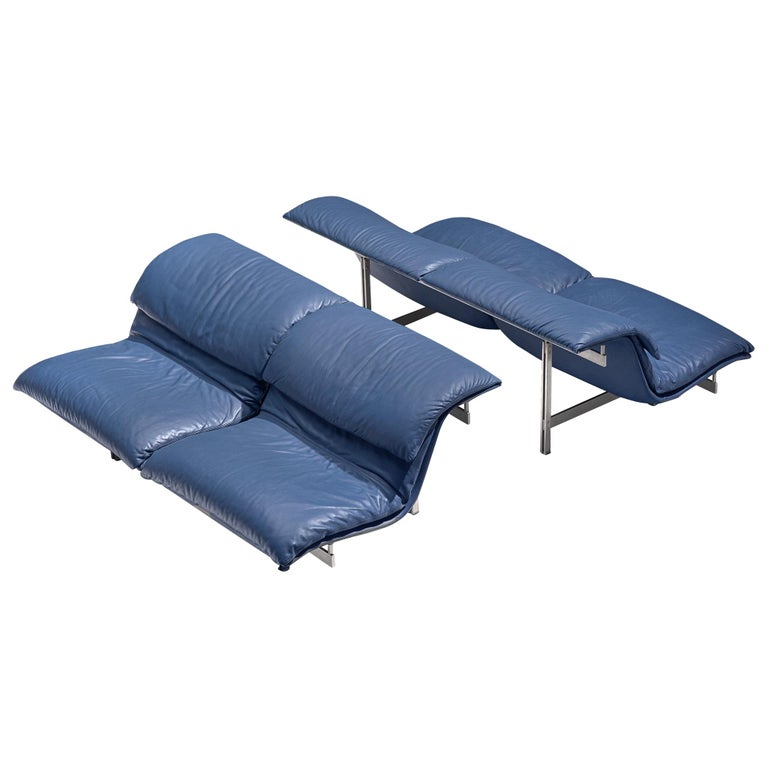 Two 'Wave' Sofas in Sapphire Blue Leather by Giovanni Offredi For Sale