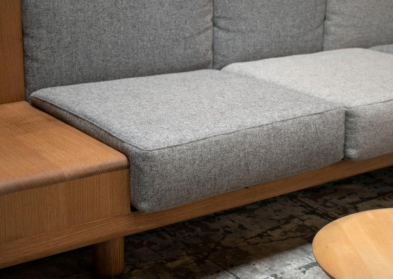 Two Way Sofa in White Oak Frame with Kvadrat Fabric Cushions For Sale 1