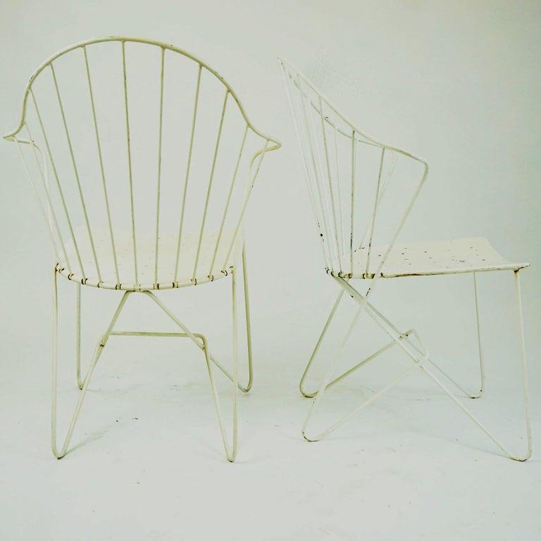 Two white Austrian Midcentury Wire Sonett Astoria Chairs For Sale 4