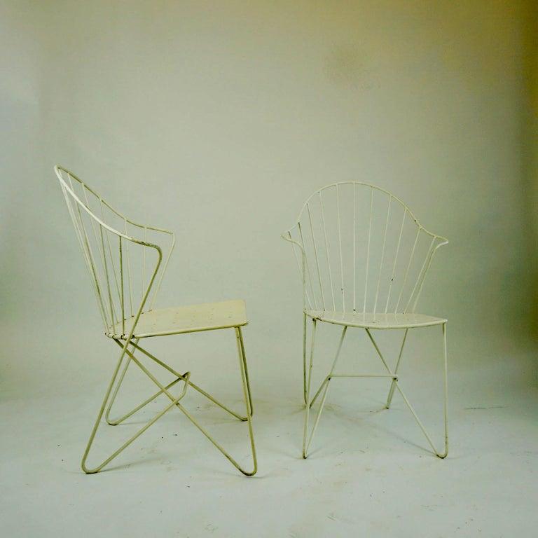 Two white Austrian Midcentury Wire Sonett Astoria Chairs For Sale 5