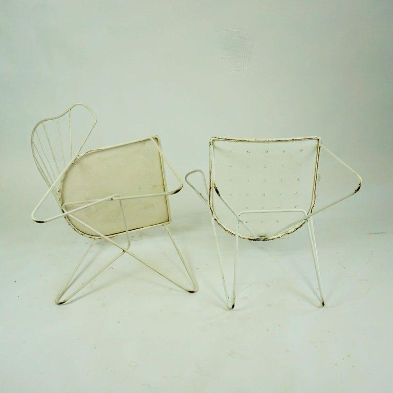 Two white Austrian Midcentury Wire Sonett Astoria Chairs For Sale 6