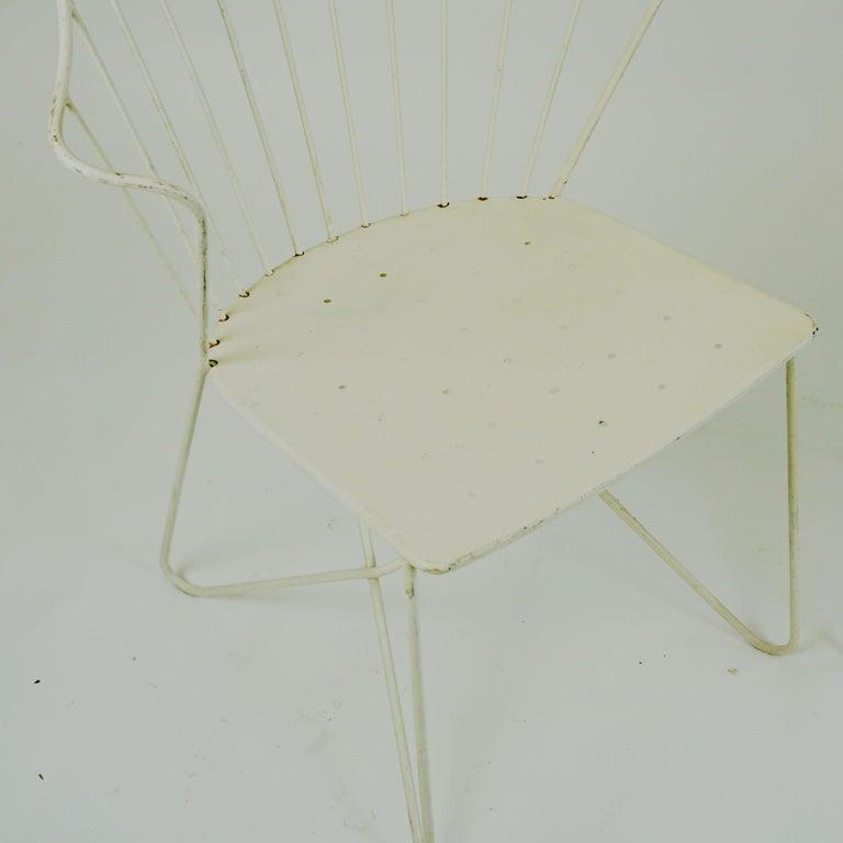 Two white Austrian Midcentury Wire Sonett Astoria Chairs For Sale 7