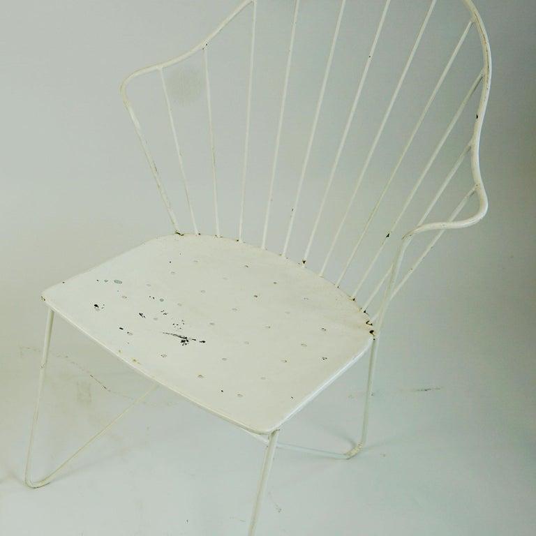 Two white Austrian Midcentury Wire Sonett Astoria Chairs For Sale 8