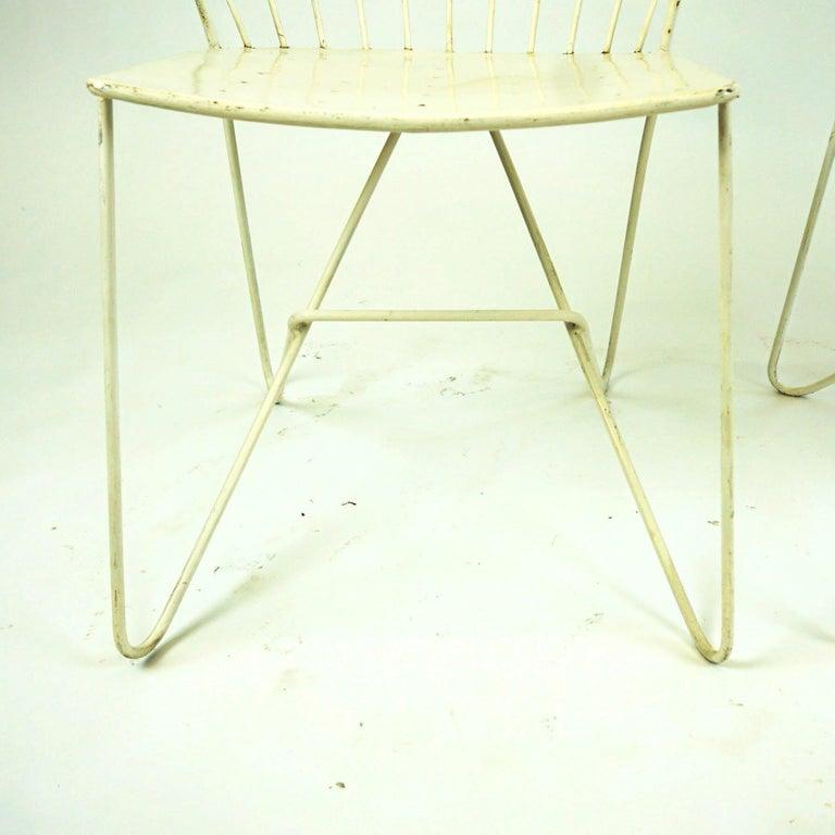 Two white Austrian Midcentury Wire Sonett Astoria Chairs For Sale 10