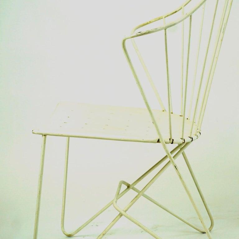 Two white Austrian Midcentury Wire Sonett Astoria Chairs For Sale 11