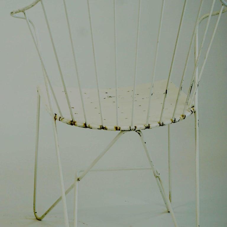 Two white Austrian Midcentury Wire Sonett Astoria Chairs For Sale 12