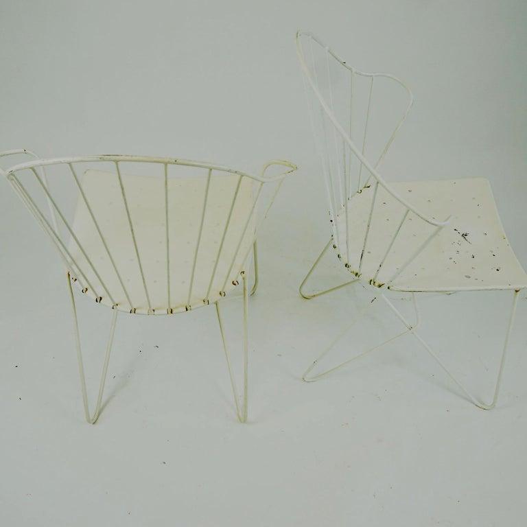 Two white Austrian Midcentury Wire Sonett Astoria Chairs For Sale 3