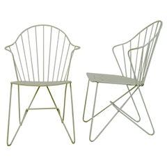 Two white Austrian Midcentury Wire Sonett Astoria Chairs