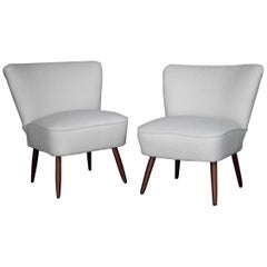 Two White Boucle Cozy Club Chairs