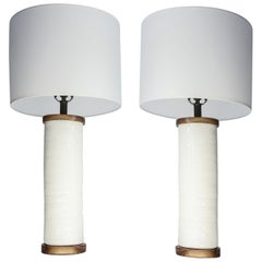 Two White Ceramic Cylinder Shape Lamps