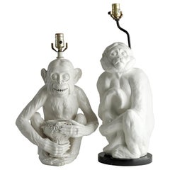 Two White Ceramic Monkey Lamps, Seated Chimp Greenspan Hollywood Regency, 1970s