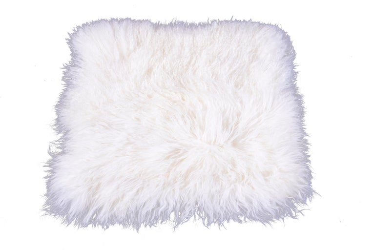 Two White Tibetan Fur Cushion Pillow Cover For Sale 6