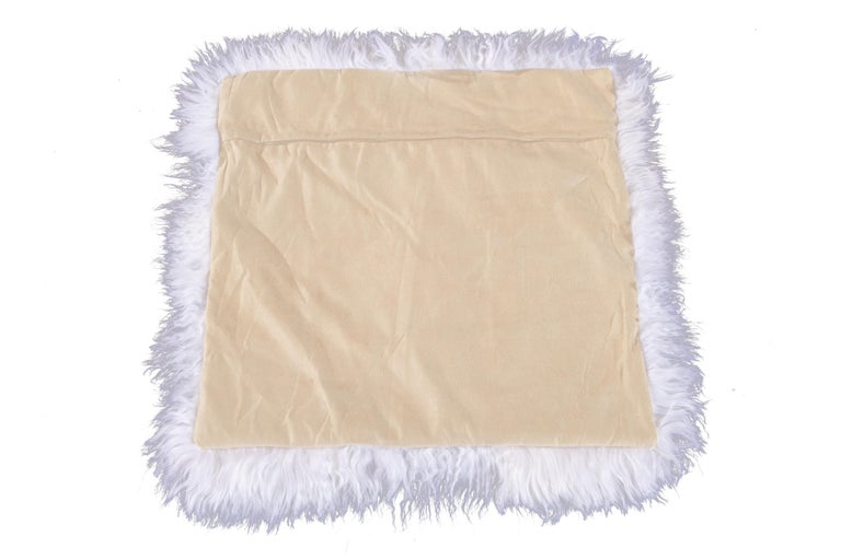 Two White Tibetan Fur Cushion Pillow Cover For Sale 7