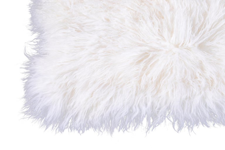 Two White Tibetan Fur Cushion Pillow Cover In New Condition For Sale In Norwalk, CT