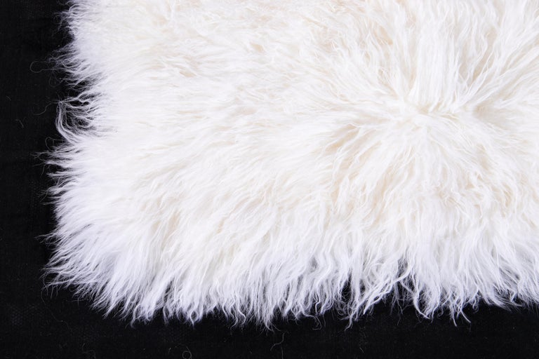 Contemporary Two White Tibetan Fur Cushion Pillow Cover For Sale