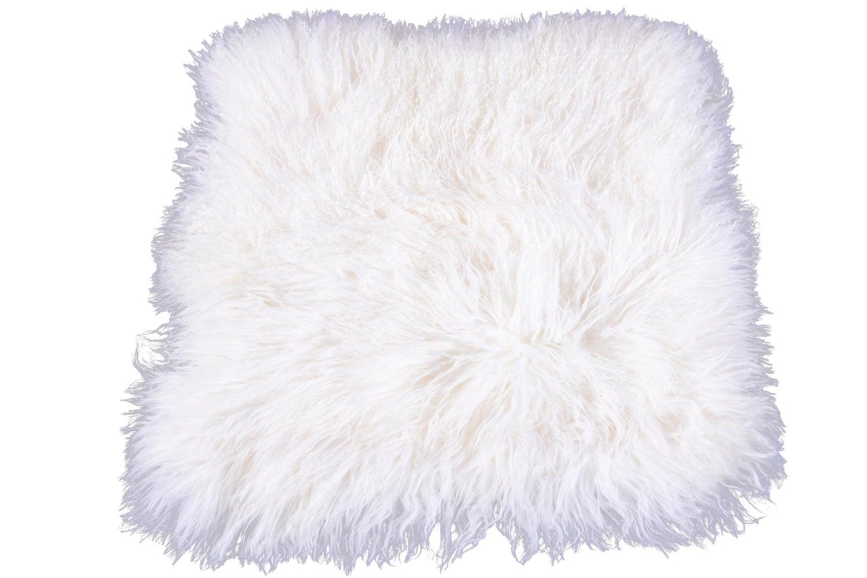 White Tibetan Fur Cushion Pillow Cover