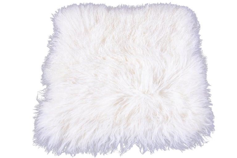 Two White Tibetan Fur Cushion Pillow Cover For Sale 1