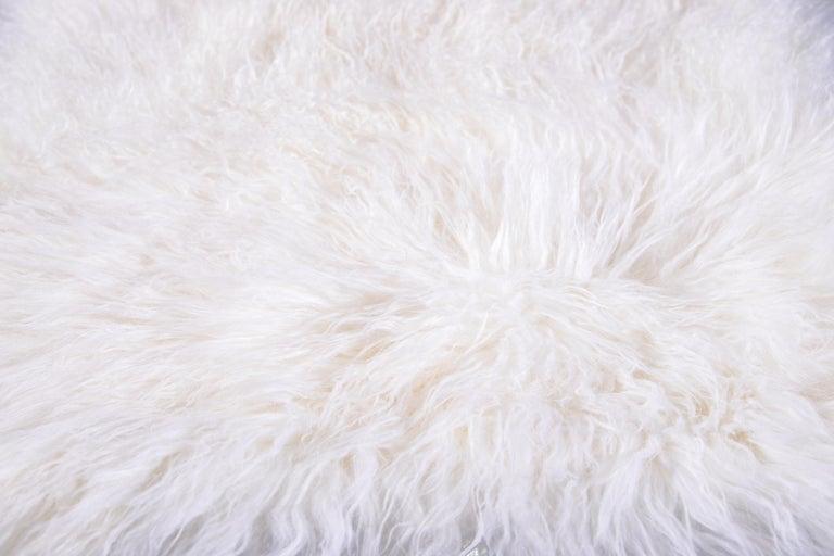 Two White Tibetan Fur Cushion Pillow Cover For Sale 2