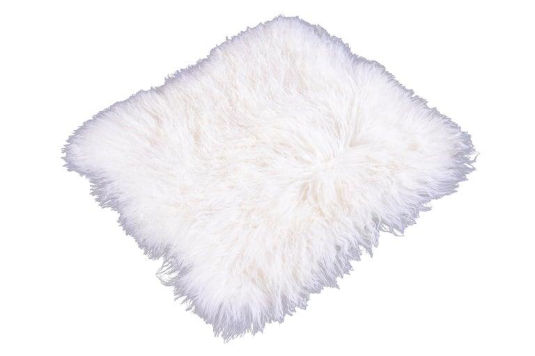 Two White Tibetan Fur Cushion Pillow Cover For Sale 3