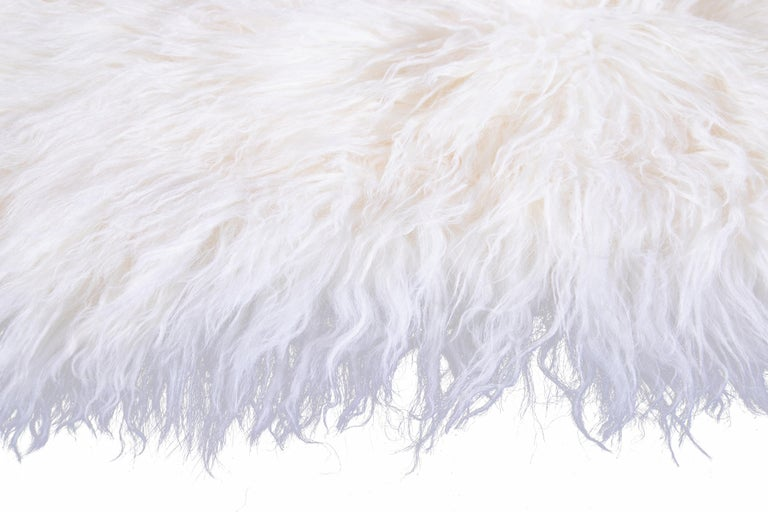 Two White Tibetan Fur Cushion Pillow Cover For Sale 4