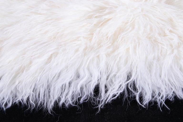Two White Tibetan Fur Cushion Pillow Cover For Sale 5