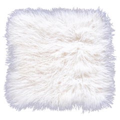 Two White Tibetan Fur Cushion Pillow Cover