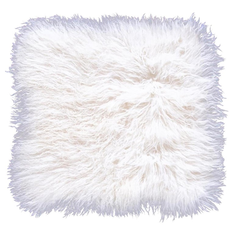 Two White Tibetan Fur Cushion Pillow Cover For Sale
