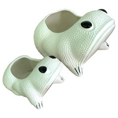 Two White Toad Form Porcelain Planters
