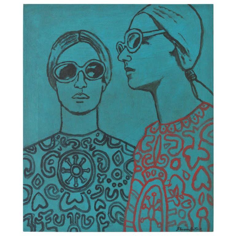 "James Strombotne painting ""Two Women"" Acrylic on Canvas"