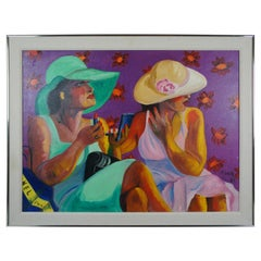 """""""Two Women"""" by Pilar Pobil Smith 1985 Oil Painting on Canvas Utah Artist"""
