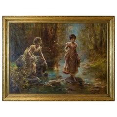 Two Women Crossing a Stream in The Forest by Hans Zatzka