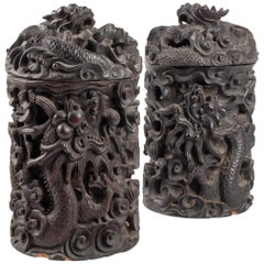 Two Wooden Box Indochina Iron, Decor Dragon, 19th Century