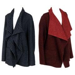 Two Wool/Cashmer Designer Jacketse Blue Houndstooth, Deep Red Reversible Jacket.