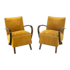 Two Yellow Retro Armchairs, 1960s, Similar to Halabala