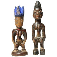 Two Yoruba Ibeji Twin Figures, Early 20th Century, Nigeria, Africa Tribal Art