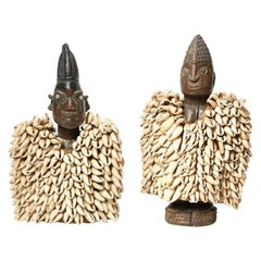 Two Yoruba Tribe twin Figures with Cowrie Cloaks, Nigeria