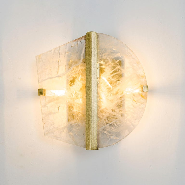 """Twobe"" Wall Lamp cast brass, Rock Crystal, Led Light, Handmade in Tuscany Italy 7"