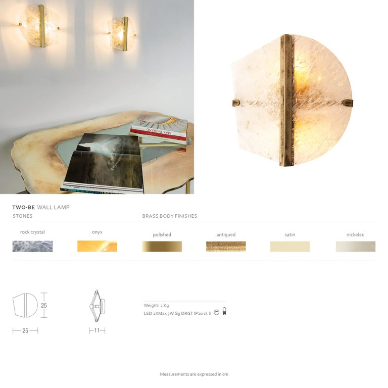 """""""Two-be"""" Wall Lamp, Rock Crystal and Onyx Stone, Brass For Sale 1"""