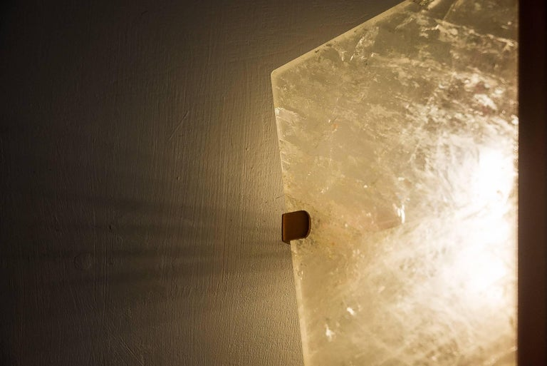 """Modern """"Two-be"""" Wall Lamp, Rock Crystal and Onyx Stone, Brass For Sale"""