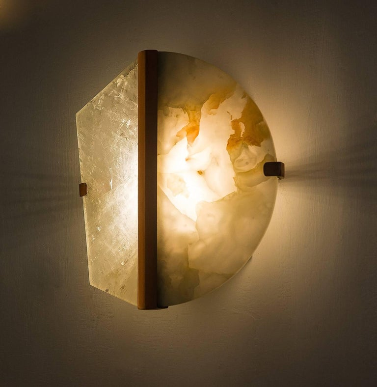 """Italian """"Two-be"""" Wall Lamp, Rock Crystal and Onyx Stone, Brass For Sale"""