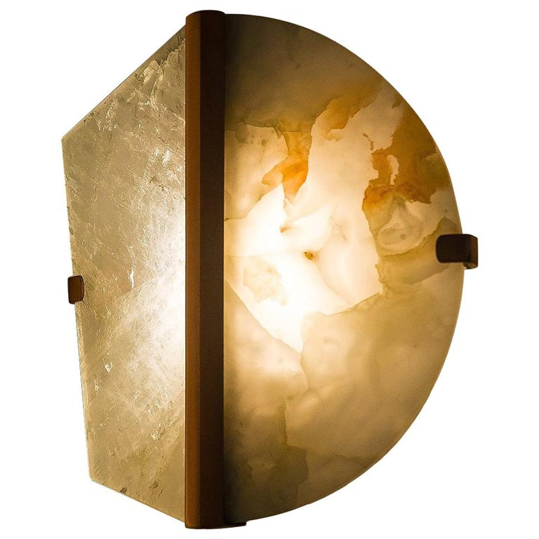"""""""Two-be"""" Wall Lamp, Rock Crystal and Onyx Stone, Brass For Sale"""