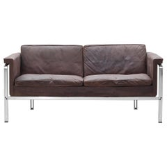 Two-Seat Sofa by Horst Bruning for Alfred Kill International Leather, 1968