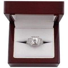 Tycoon Cut 2.42 Carat Three-Stone Halo Design Diamond and Platinum Ring