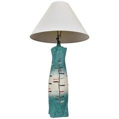 Tye of California Aqua Blue Painted and Glazed Mid-Century Modern Lamp
