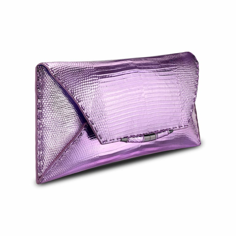 TYLER ELLIS Aimee Clutch in Pink and Purple Metallic Lizard In New Condition For Sale In Los Angeles, CA