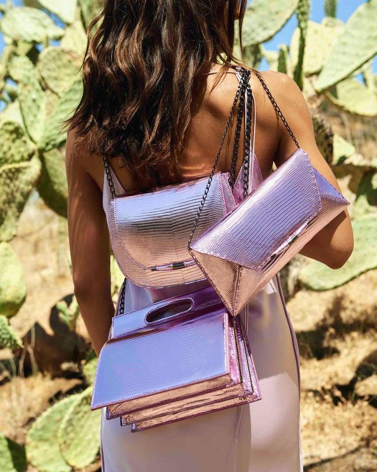 Women's TYLER ELLIS Aimee Clutch in Pink and Purple Metallic Lizard For Sale