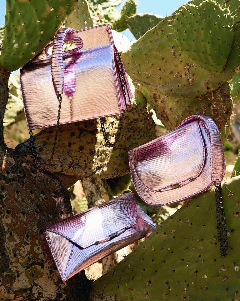 TYLER ELLIS Aimee Clutch in Pink and Purple Metallic Lizard For Sale 1