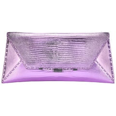 TYLER ELLIS Aimee Clutch in Pink and Purple Metallic Lizard